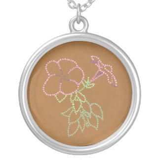 Pink Morning Glories in Pointillism Necklaces