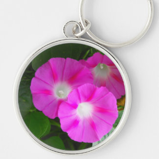 Pink Morning Glories Trio Keychain