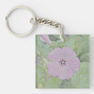 Pink Morning Glory Keychains