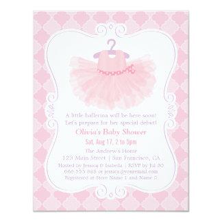 Pink Moroccan Ballerina Tutu Girl Baby Shower Card