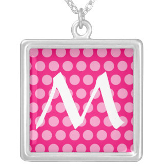 Pink Moroccan Dots with monogram Silver Plated Necklace