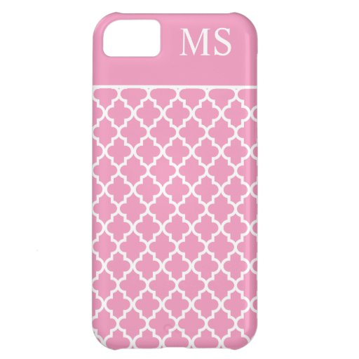 Pink Moroccan Pattern Monogram iPhone 5C Cover