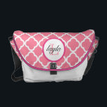 """Pink Moroccan Print Monogram Diaper Bag<br><div class=""""desc"""">Pink and white chevron print with a dark pink monogram circle,  with text in pink and black.  Click on customize it to personalize colors &amp; fonts!</div>"""