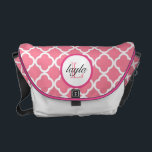 "Pink Moroccan Print Monogram Diaper Bag<br><div class=""desc"">Pink and white chevron print with a dark pink monogram circle,  with text in pink and black.  Click on customize it to personalize colors &amp; fonts!</div>"