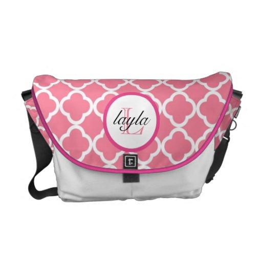 pink moroccan print monogram diaper bag zazzle. Black Bedroom Furniture Sets. Home Design Ideas