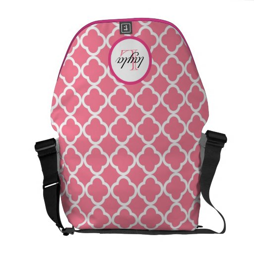 pink moroccan print monogram diaper bag courier bags zazzle. Black Bedroom Furniture Sets. Home Design Ideas