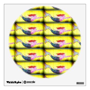 Beach Themed pink mosaic mermaids yellow wall sticker