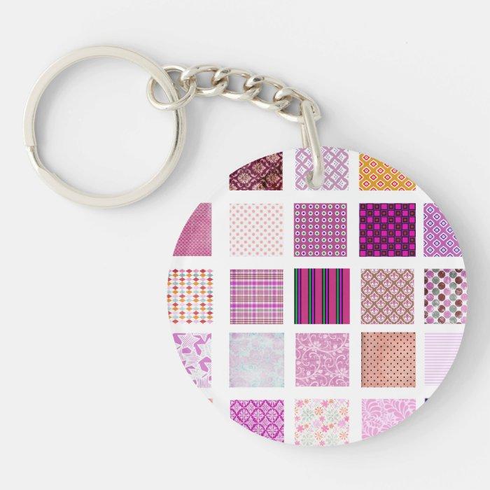 Pink Mosaic pattern Keychain