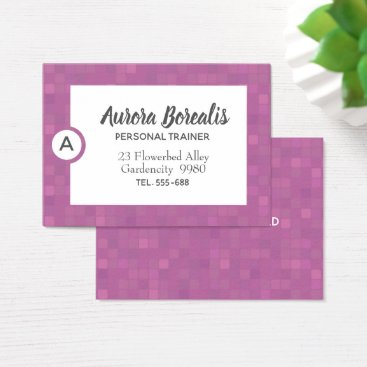 Professional Business Pink mosaic pixels lilac business card