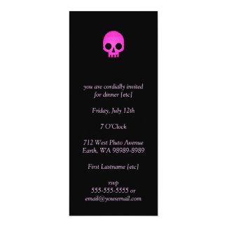 Pink Mosaic Skull 4x9.25 Paper Invitation Card