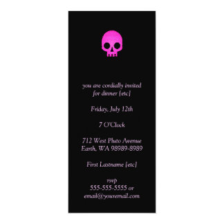 "Pink Mosaic Skull 4"" X 9.25"" Invitation Card"