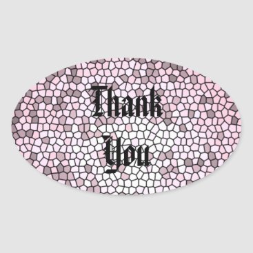 Professional Business PInk Mosaic Stained Glass Thank You Appreciation Oval Sticker