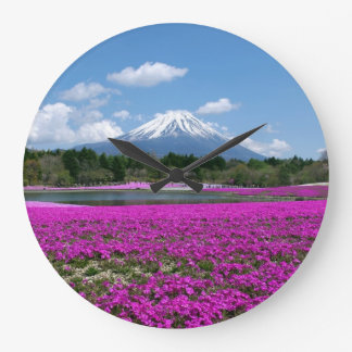 Pink moss and Mt. Fuji in the background Large Clock