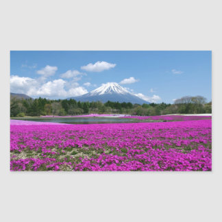 Pink moss and Mt. Fuji in the background Rectangular Sticker