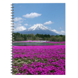 Pink moss and Mt. Fuji in the background Spiral Notebook