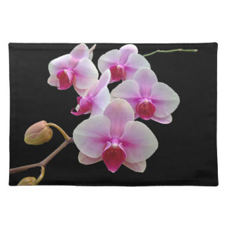 Pink Moth Orchids on Black - Phalaenopsis Cloth Place Mat