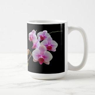 Pink Moth Orchids on Black - Phalaenopsis Coffee Mug