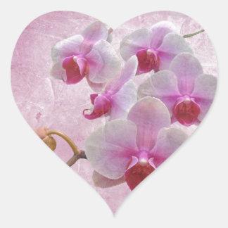 Pink Moth Orchids - Phalaenopsis Heart Sticker