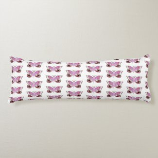Pink Moth/Purple Moth (Butterfly) Reversible Body Pillow