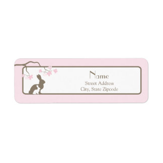 Pink Mother and Baby Bunny Address Label