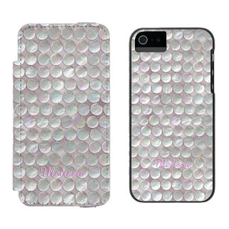 Pink Mother Of Pearl Sequins iPhone SE/5/5s Wallet Case