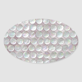 Pink Mother Of Pearl Sequins Oval Sticker