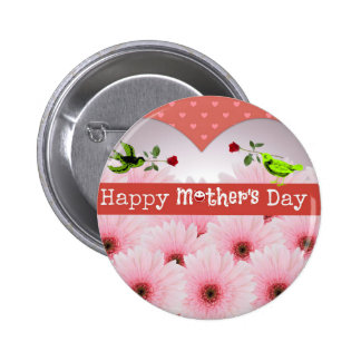 Pink Mother's Day Flowers Button