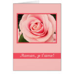 pink mother's day rose greeting card french