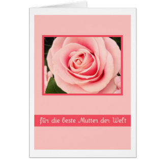 pink mother's day rose greeting card german