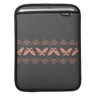 Pink Moths and Lace against Gray iPad Sleeves