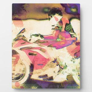 Pink Motorbike Racer Plaque