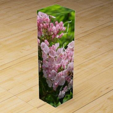 Bride Themed Pink Mountain Laurel Monogrammed Wedding Favors Wine Gift Box