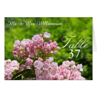 Bride Themed Pink Mountain Laurel Wedding Table Tent Cards