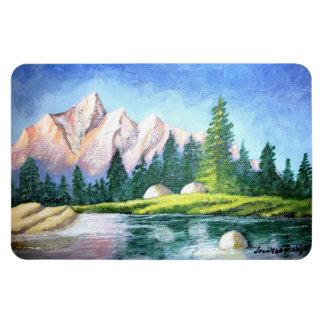 Pink Mountain Painting Rectangular Magnet