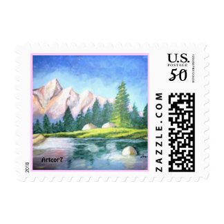Pink Mountain Painting Small Stamp