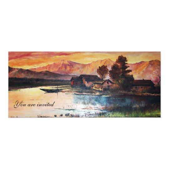 PINK MOUNTAINS LAKE ALPINE SUNSET LANDSCAPE CARD