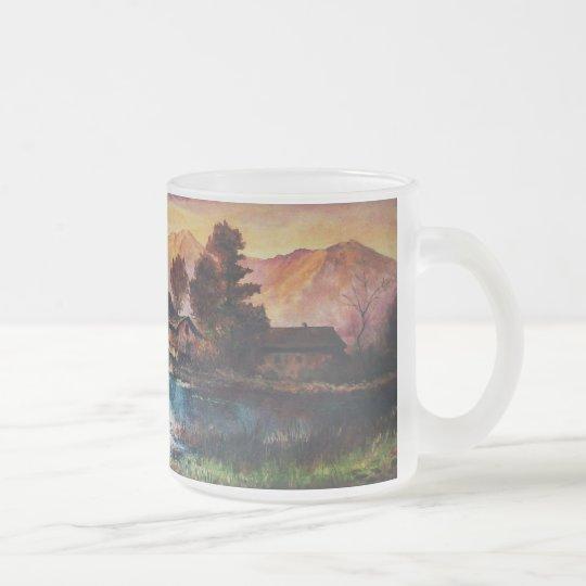 PINK MOUNTAINS LAKE ALPINE SUNSET LANDSCAPE FROSTED GLASS COFFEE MUG