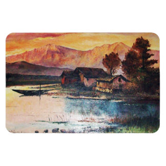 PINK MOUNTAINS LAKE ALPINE SUNSET LANDSCAPE MAGNET