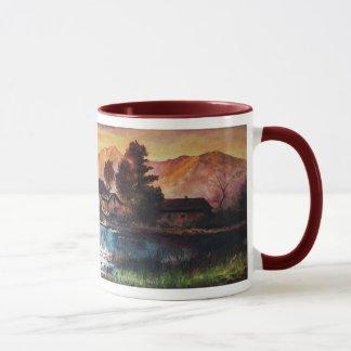 PINK MOUNTAINS LAKE ALPINE SUNSET LANDSCAPE MUG