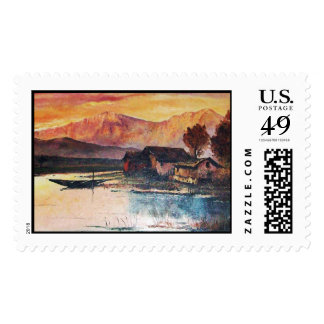PINK MOUNTAINS LAKE ALPINE SUNSET LANDSCAPE POSTAGE