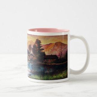 PINK MOUNTAINS LAKE ALPINE SUNSET LANDSCAPE Two-Tone COFFEE MUG