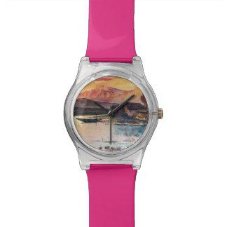 PINK MOUNTAINS LAKE ALPINE SUNSET LANDSCAPE WRISTWATCH