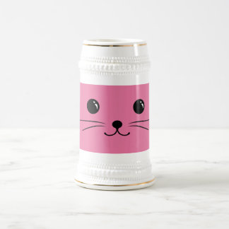 Pink Mouse Cute Animal Face Design Beer Stein