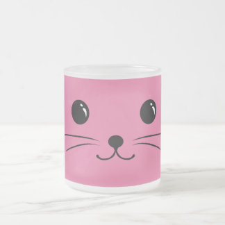 Pink Mouse Cute Animal Face Design Frosted Glass Coffee Mug