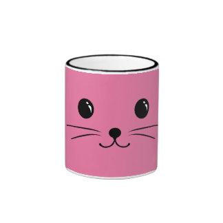 Pink Mouse Cute Animal Face Design Ringer Mug