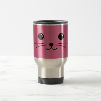 Pink Mouse Cute Animal Face Design Travel Mug