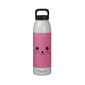 Pink Mouse Cute Animal Face Design Drinking Bottles