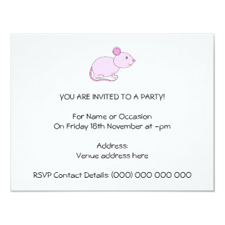 Pink Mouse. 4.25x5.5 Paper Invitation Card