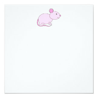 Pink Mouse. 5.25x5.25 Square Paper Invitation Card