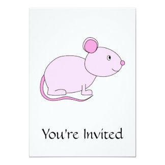 Pink Mouse. 5x7 Paper Invitation Card